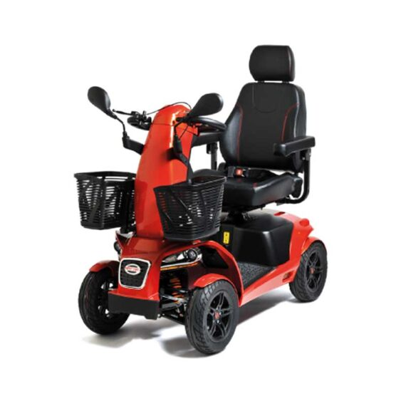 Red mobility scooter with four wheels.