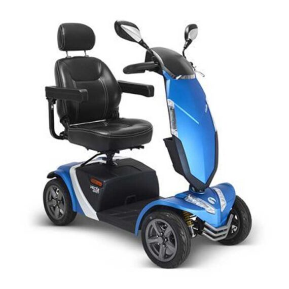 Blue four-wheeled mobility scooter.
