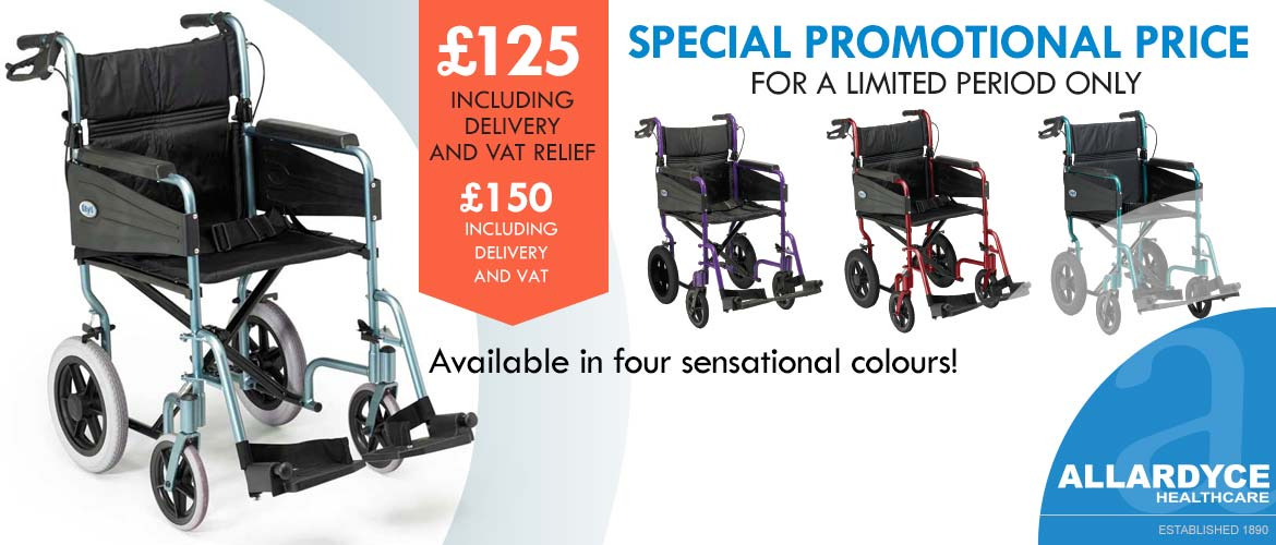 CCN Lite Wheelchair banner with a selection of four coloured chairs
