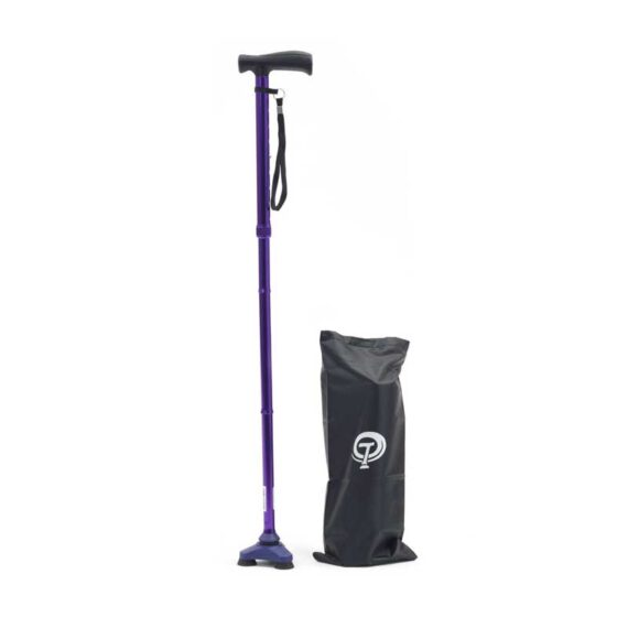 A single walking cane with three rubber feet and bag