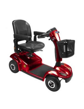 Red mobility scooter with basket on front