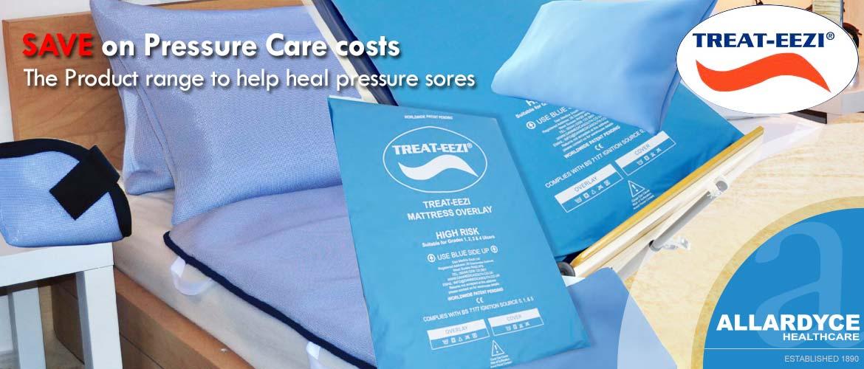 Treat-Eezi pressure care range products on bed.
