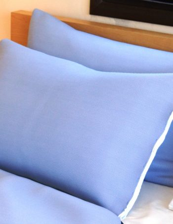 A pair of pale blue pillowcases.