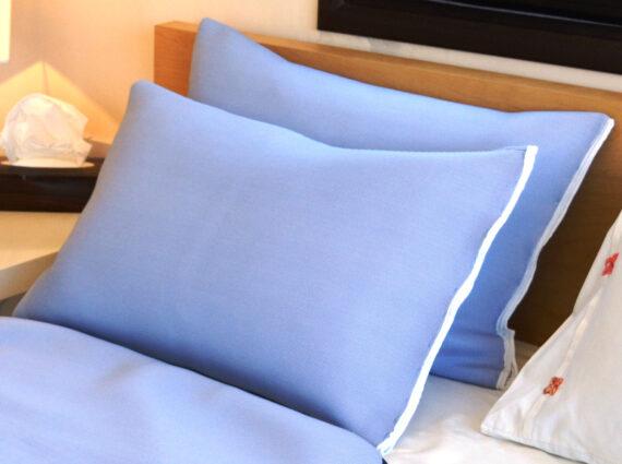A pair of pale blue pillowcases.