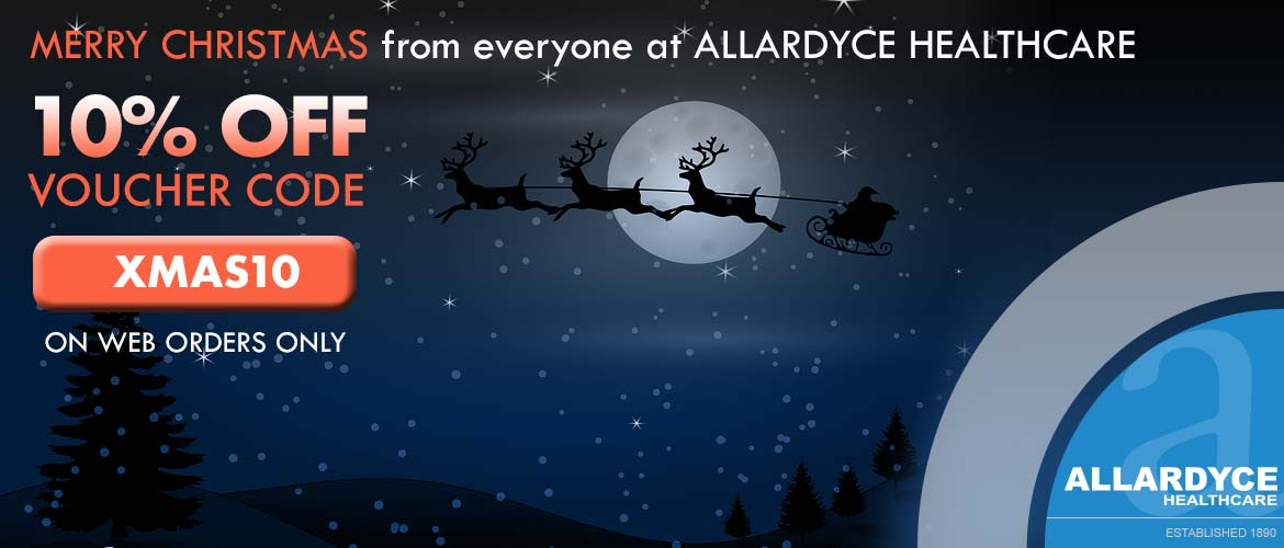 10% off code voucher XMAS10 santa on sleigh flying in sky at night
